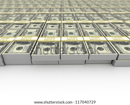Us dollars background close up bundled notes - stock photo