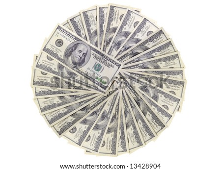 US dollars background made from lots of hundred bills