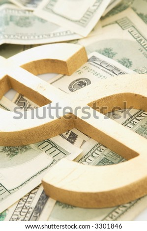 Us dollars background with dollar sign, shallow dof