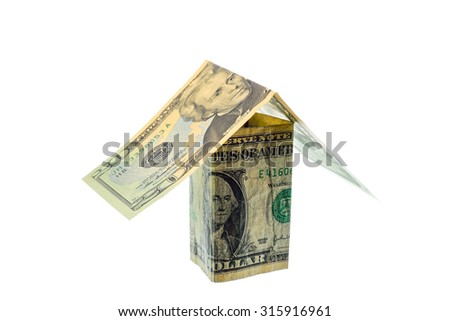 Us dollars banknote currency fold a houses on white background