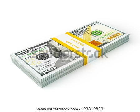 US dollars banknotes Creative business finance making money concept - stack of new new 100 US dollars 2013 edition banknotes (bills) stack bundle isolated on white background money stack on white - stock photo