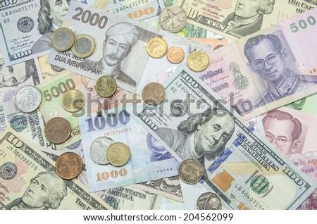 US dollars,Euro banknotes - stock photo
