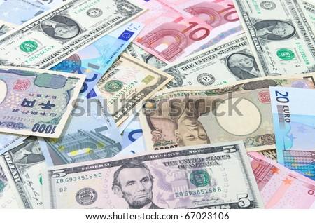 US dollars,Euro,Yen. - stock photo