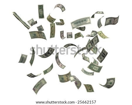 US dollars falling, 3d render isolated on white
