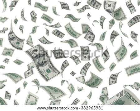 US Dollars falling from above isolated on white - stock photo