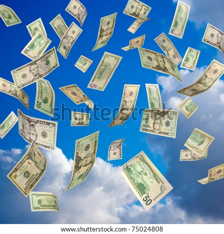 US Dollars falling from the sky - stock photo