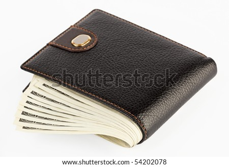 US dollars in a black purse isolated  on white background - stock photo