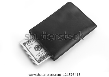 US dollars in a black wallet isolated on white - stock photo