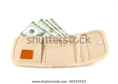 US dollars in a  wallet isolated on white background - stock photo