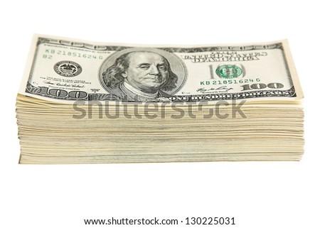 US Dollars isolated on white - stock photo