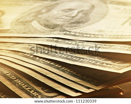 US dollars. Money concept. Dim light - stock photo