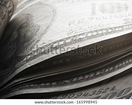 US dollars. Money concept. Pincushion lens use. - stock photo