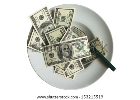 US dollars on plate isolated on white - stock photo