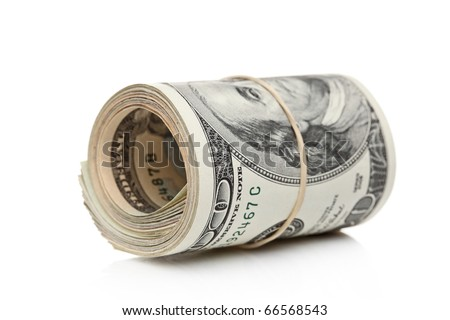 US dollars rolled up and tightened with band isolated on white background - stock photo