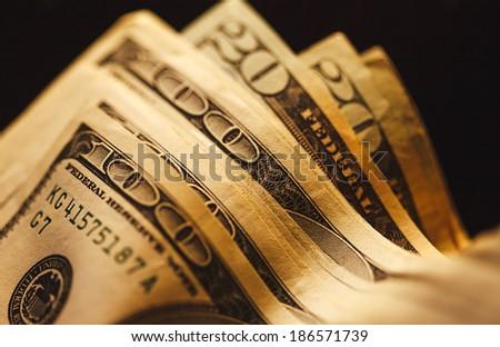 US dollars. Small depth of field. - stock photo