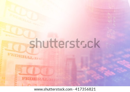 US dollars ,stock and finance background. Macro image. - stock photo