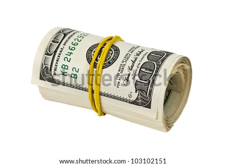 US dollars wrapped by ribbon isolated on white background