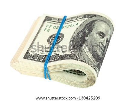 US dollars wrapped by rubber on white background - stock photo