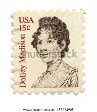 US Dolley Madison - CIRCA 1980: A postage stamp printed in the USA from 1822 portrait of First Lady Dolly Madison, circa 1980 - stock photo