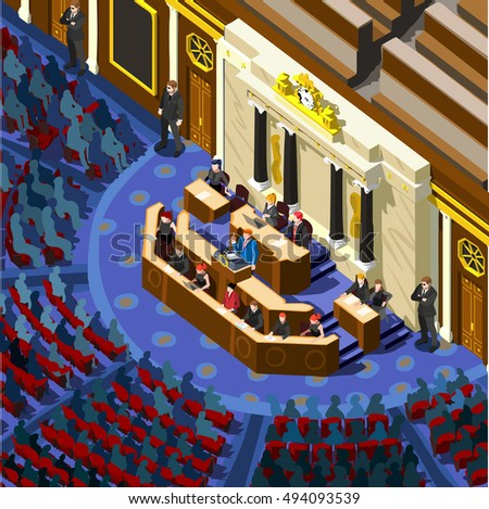 Us Election 2016 infographic Democrat Republican convention hall. Party presidential debate endorsement. Trump GOP opponent rally Flat senate congress tribune pedestal auditorium audience Image