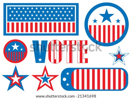 US election sign is the traditional red white and blue - stock photo