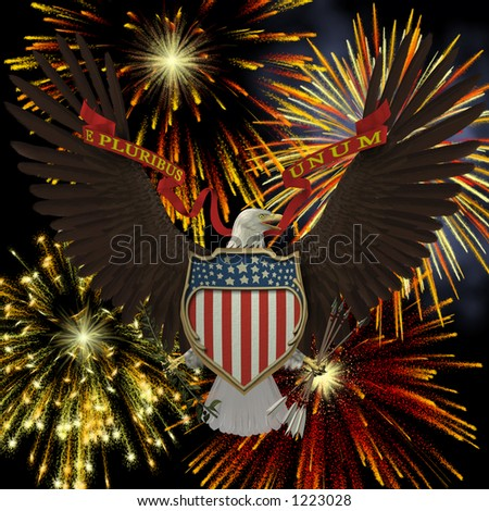 US Emblem over Fireworks - stock photo