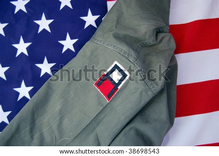 US flag and historical uniform