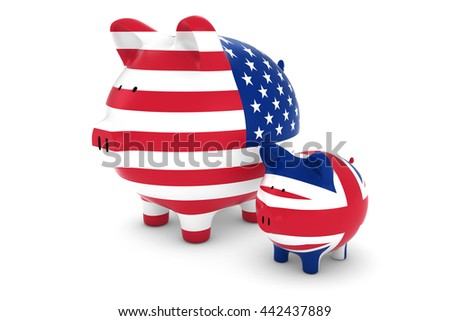 US Flag and UK Flag Piggybanks Exchange Rate Concept 3D Illustration