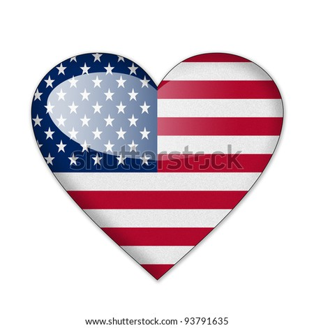 US flag in heart shape isolated on white background