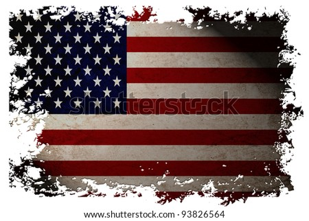 US flag on old vintage paper in isolated white background, can be use for background design and vintage related concept. Also American Independence Day. - stock photo