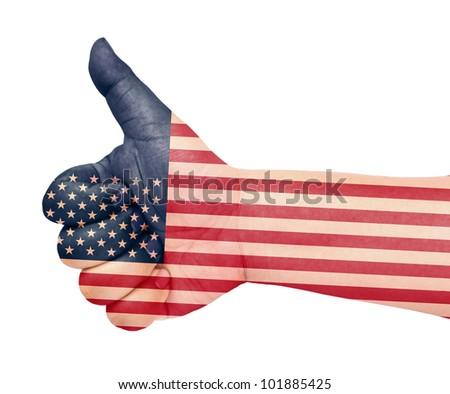US flag on thumb up gesture like icon - stock photo