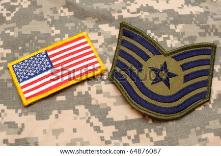US flag patch and Air Force rank patch on ACU background - stock photo