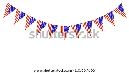US Flag pennants buntings isolated on white background with room for your text - stock photo