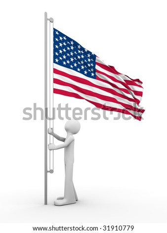 US flag-raising ceremony - stock photo