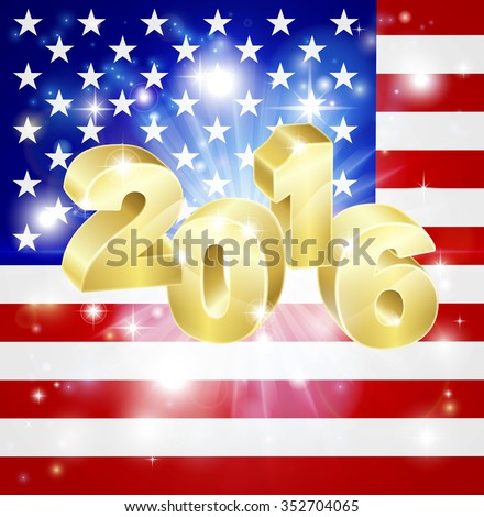 US flag with 2016 coming out of it with fireworks. Concept for New Year or anything exciting happening in America in the year 2016. - stock photo