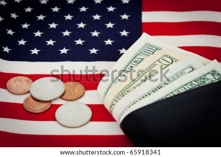 US flag with dollars. Economy and finance concept