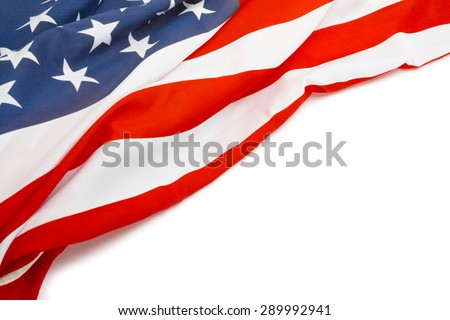 US flag with place for your text - close up studio shot - stock photo