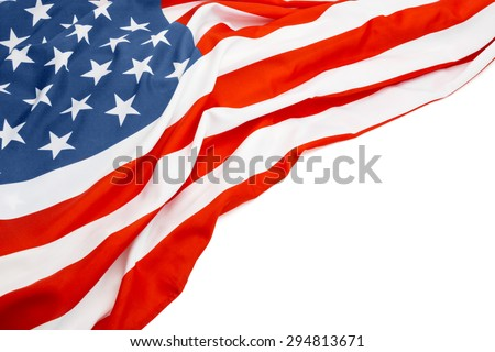 US flag with white space for your text - stock photo