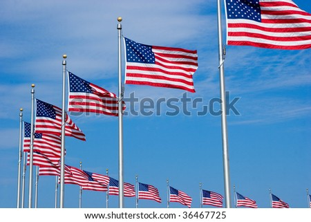 US Flags at the Washington Monument in DC - stock photo
