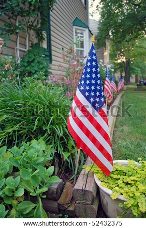 US flags decoration on Independence day, 4th July - stock photo