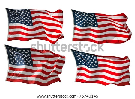 US Flags isolated in white - stock photo