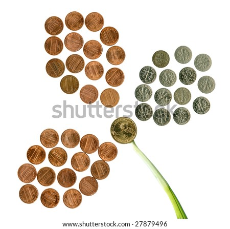 US flower of coins. Isolated over white. - stock photo