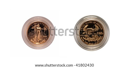 US gold eagle coin, front and back - stock photo