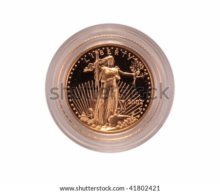 US gold eagle coin isolated - stock photo