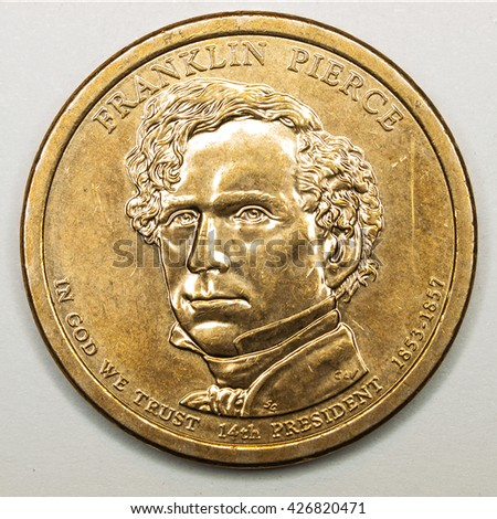 US Gold Presidential Dollar Featuring Franklin Pierce - stock photo