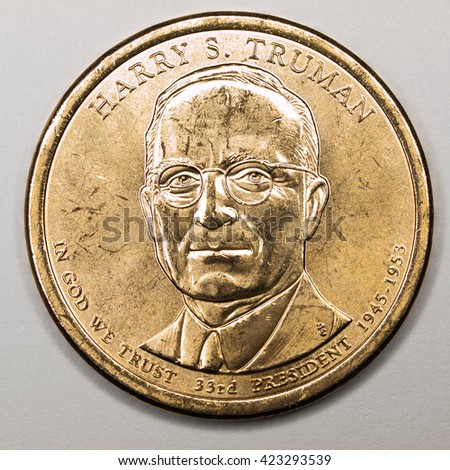 US Gold Presidential Dollar Featuring Harry S Truman - stock photo