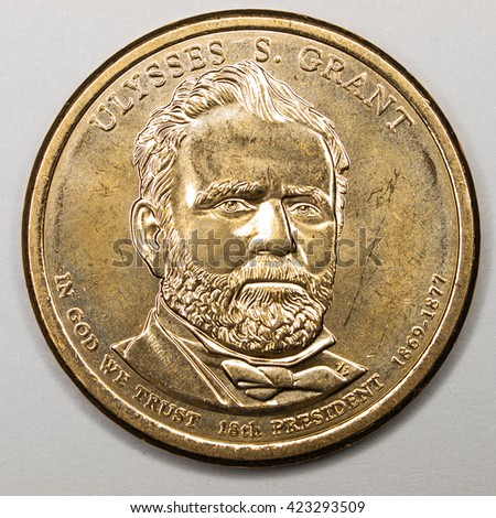 US Gold Presidential Dollar Featuring Ulysses S Grant - stock photo