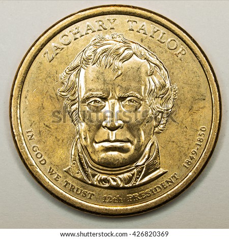 US Gold Presidential Dollar Featuring Zachary Taylor - stock photo