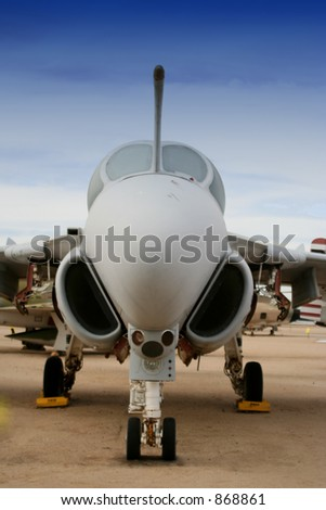 US Grumman EA-6B Prowler electronic countermeasures jet aircraft (exclusive at shutterstock) - stock photo