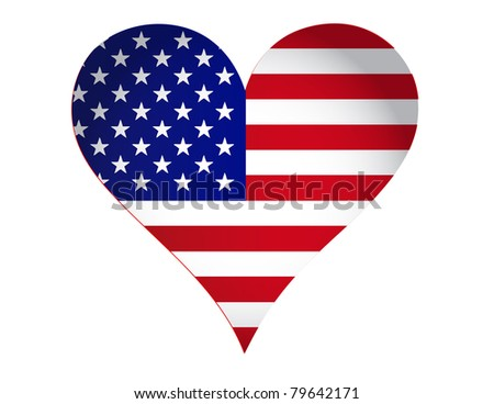 US heart illustration design isolated over a white background - stock photo